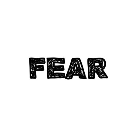 Vektorhandschriftwörter fürchten sich. Gruselige, schlampige, schwarze Inschrift auf weißem Hintergrund. Vektorgrafik