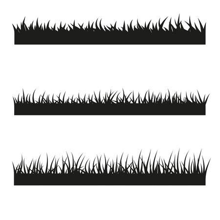 Vektorsatz schwarze Grasillustration Vektorgrafik