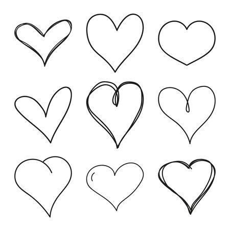 Set of black grunge hearts.