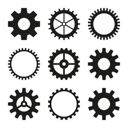 Icons of gear wheel. Vektorové ilustrace