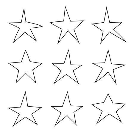 Set hand drawn star. Vector collection of ruggedly handdrawn stars uneven lines. Stock Illustratie