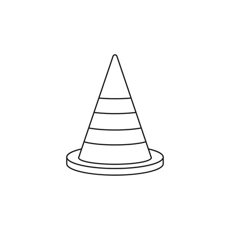 Construction traffic cone outline icon, warning sign design. Vector illustration. Stock Illustratie