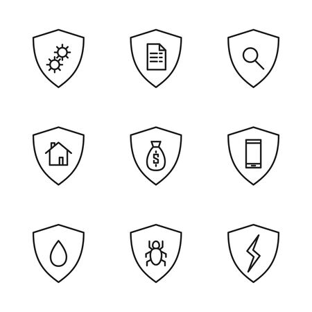 Set of linear safety icons.