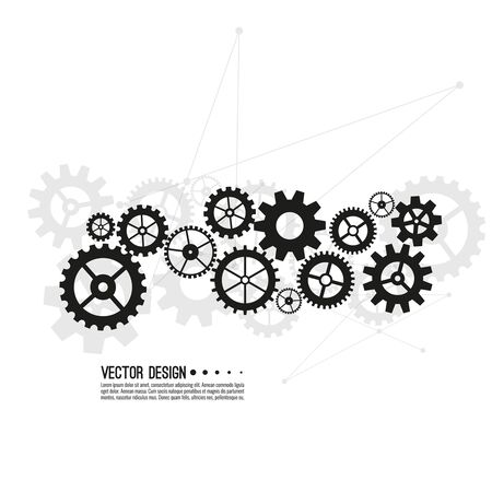 Gear wheel and cogwheel mechanism. Business concept innovation and movement. Vector illustration.