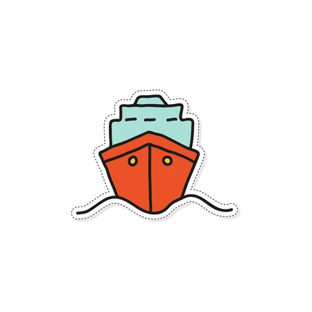 Front view illustration of dry cargo ship sailing in the sea. Transport ship vector icon. Hand drawn sticker. Illustration