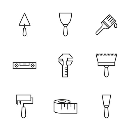 Icon set of working tools