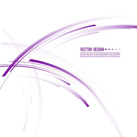 Vector abstract background with purple curved stripes. Illustration of chaotic motion. Ilustração