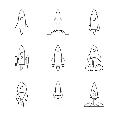 Vector icon of flying spaceship.