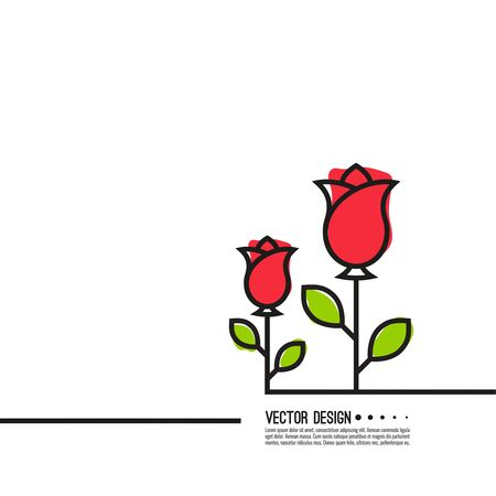 Roses with red buds. Illustration