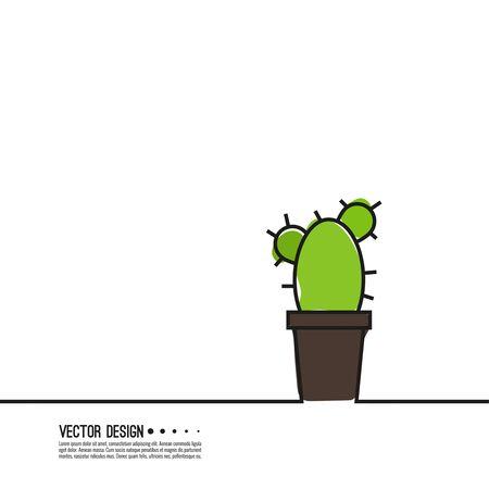 Green cactus vector.