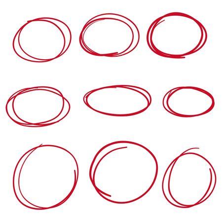 Set hand drawn ovals.
