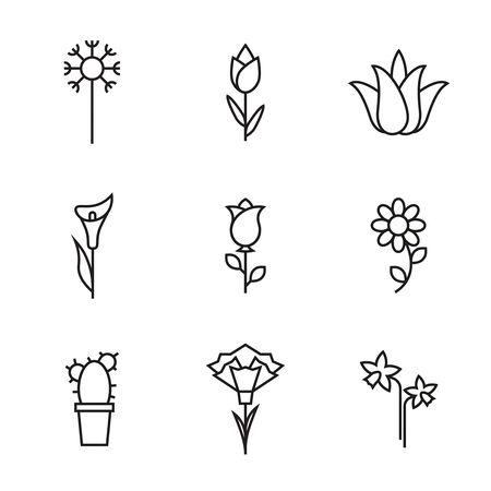 Icone del fiore di vettore. Vettoriali