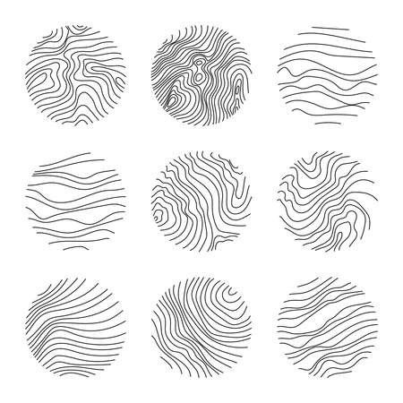 Set of round modern minimal with organic shapes with dynamic waves and lines. Vector emblem for cosmetics, beauty industry. Hand drawn templates black color.