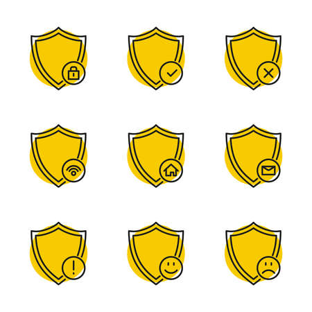 Vector set of linear safety protection icons. Isolated shield icon on a white background.
