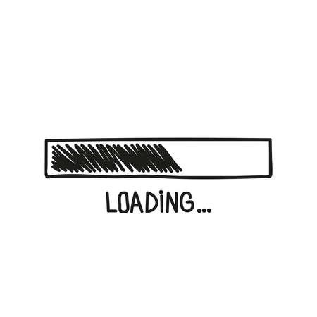 Loading bar doodle icon. Vector Illustration