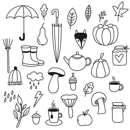 Autumn doodle icons.