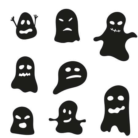 Vector set of halloween ghosts.