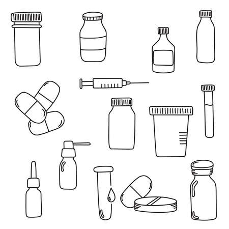 Pills and injection Ilustração