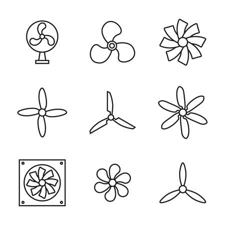 Vector set of icons of fans