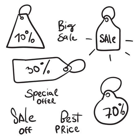 Sale banners in doodle style
