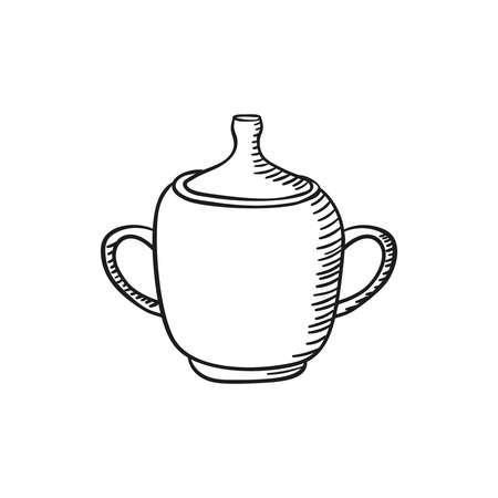 Vector hand drawn sugar bowl