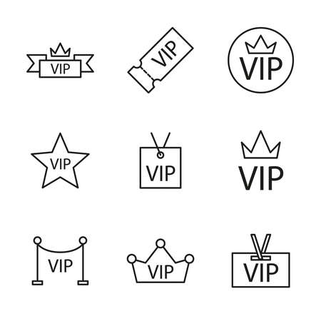 Set of vector vip icons