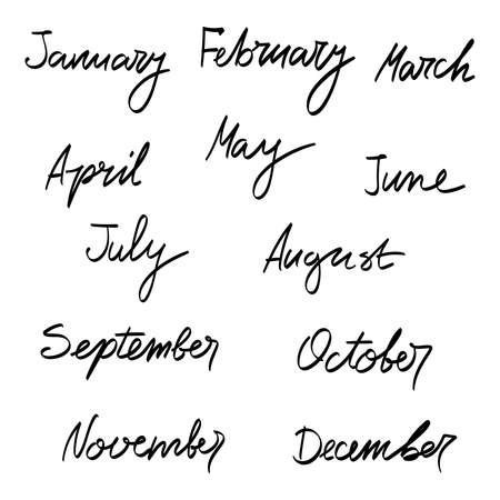 Hand drawn months of the year.