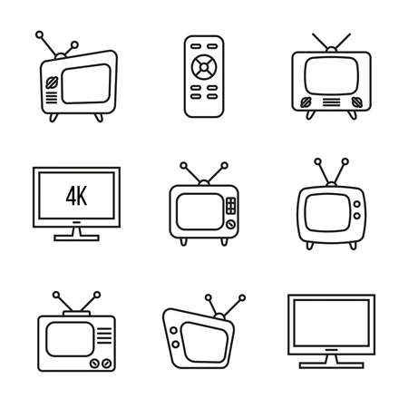 Vector set of old TV icons. 向量圖像