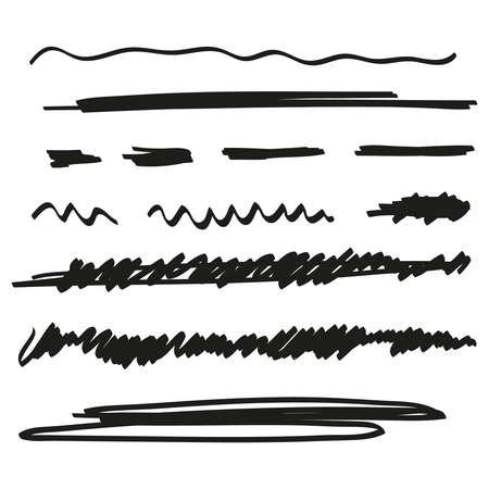 Vector set of hand drawn underline. 向量圖像