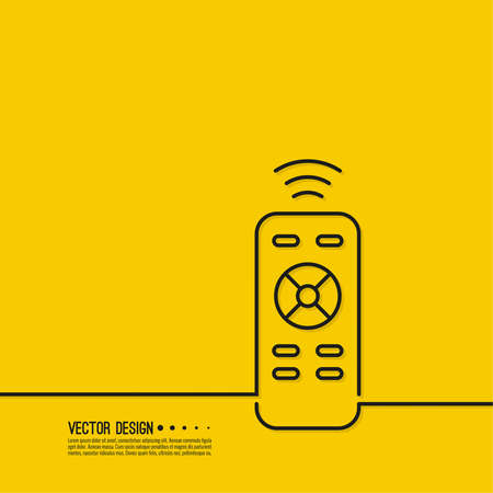 Universal remote control with signal. 向量圖像