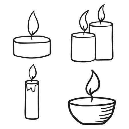 set of burning candles.