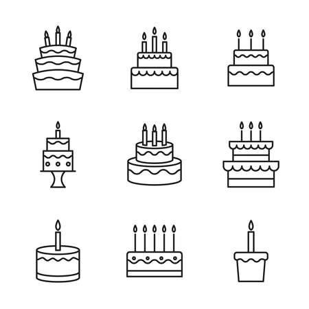 Vector set of birthday cakes