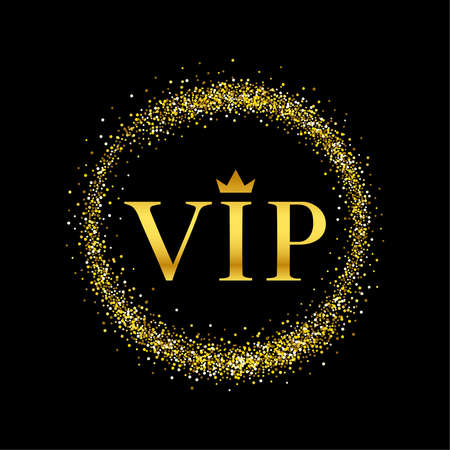 Vector black and gold with inscription VIP