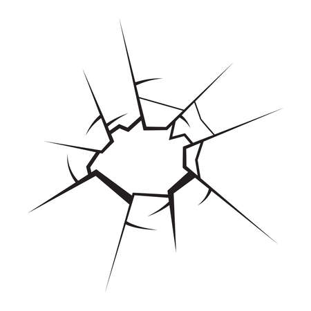 Broken glass on crystal pane.