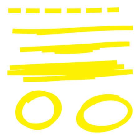 Yellow highlighter marker strokes. 向量圖像