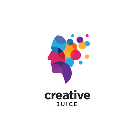 Cyfrowe abstrakcyjne logo ludzkiej głowy dla kreatywności Logo