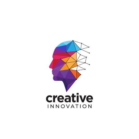 Logotipo de cabeza humana abstracta digital para creativo Logos