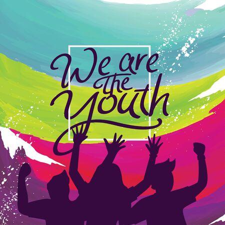 Ilustración de vector de banner de cartel de día internacional de la juventud