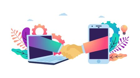 Vector illustration of hand shake, Online agreement, final conclusion of business contract via phone and laptop. Suitable for web banner, poster, flyer, mobile app