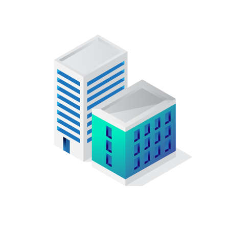 Isometric building 3d icon, city vector illustration template isolated on white background