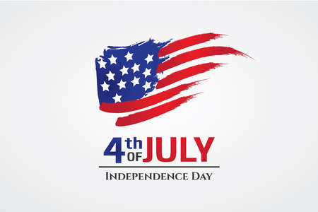 US flag with brush stroke style, 4th July greeting card, independence day of America