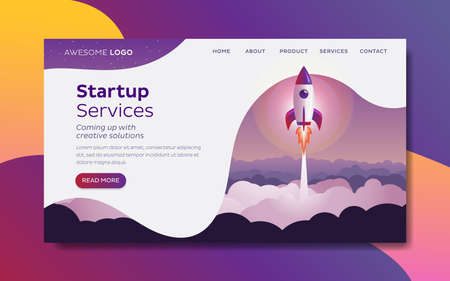Rocket launch Startup concept Landing page template 写真素材 - 166315855