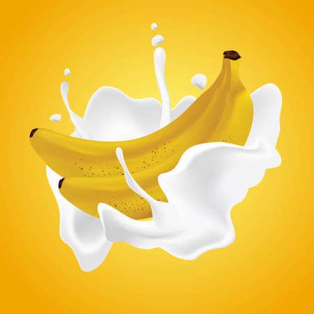 Realistic banana cream milk vector illustration  イラスト・ベクター素材