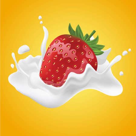 Realistic strawberry cream milk vector illustration