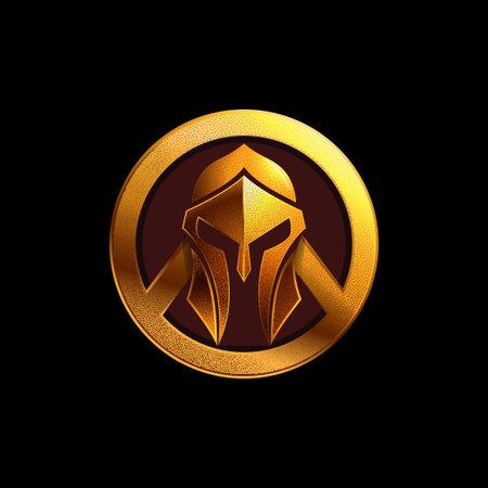 Spartan helmet logo vector illustration on black background