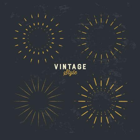 Set of Vintage gold sunburst, firework sparks vector design element on grunge dark background 写真素材 - 166417874