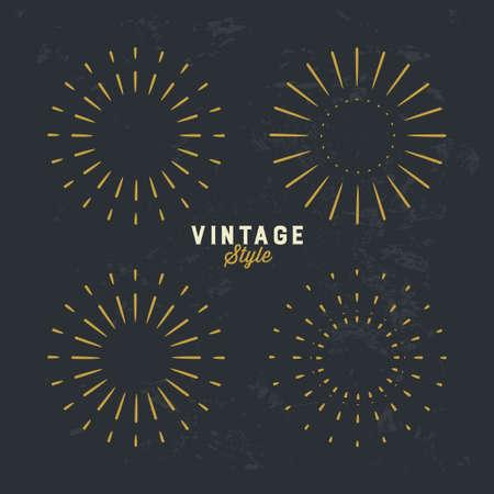 Set of Vintage gold sunburst, firework sparks vector design element on grunge dark background