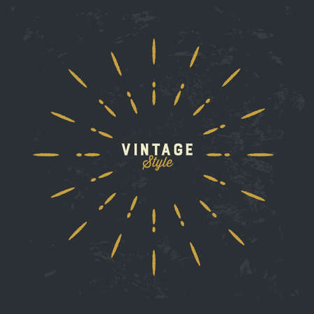 Vintage gold sunburst vector design element on grunge dark background 写真素材 - 166417547