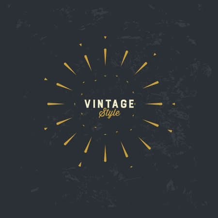 Vintage gold sunburst vector design element on grunge dark background  イラスト・ベクター素材
