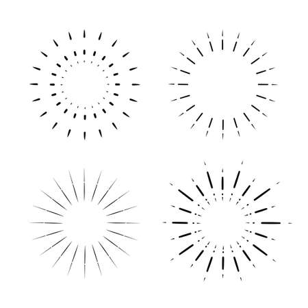 set of Vintage sunburst, light rays, firework sparks vector design element vector template